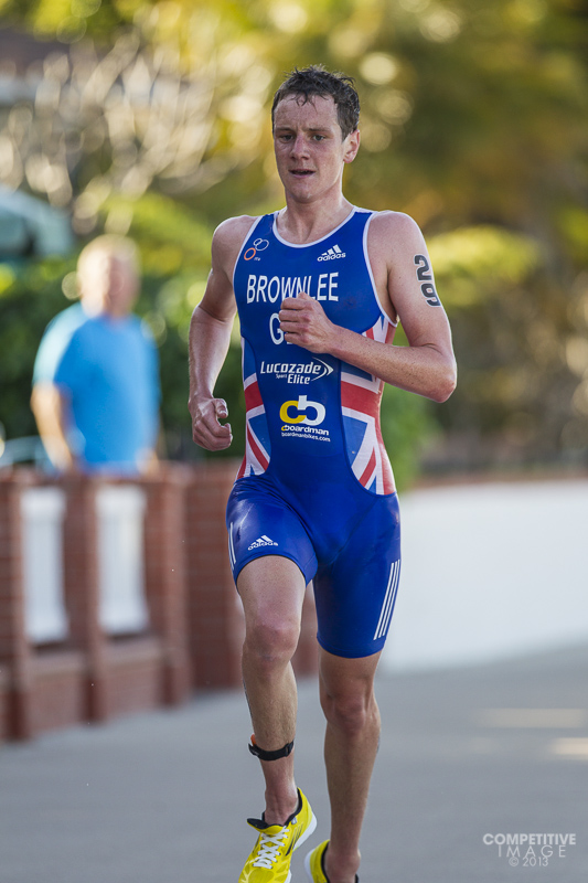 Olympic Gold Medalist Alistair Brownlee running away from the field at the 2013 World Triathlon Series race in San Diego.