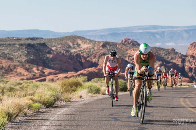 Luke McKenzie leading the chase group at the Ironman St. George 70.3.