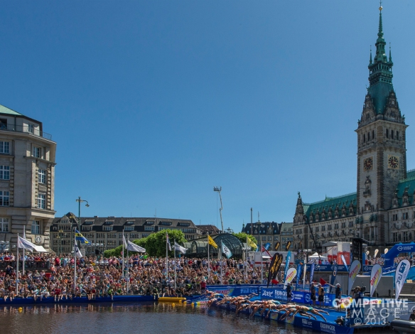 The start of the 2013 ITU Hamburg Mixed Relay in historic Hamburg