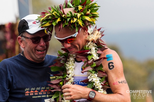 Frekerik Van Lierde and his father at the finish  Kona 2013