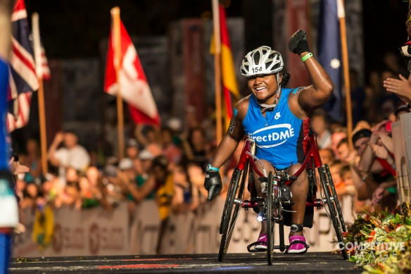 Minda Dentler becomes the first female Wheel Chair finisher - Kona 2013